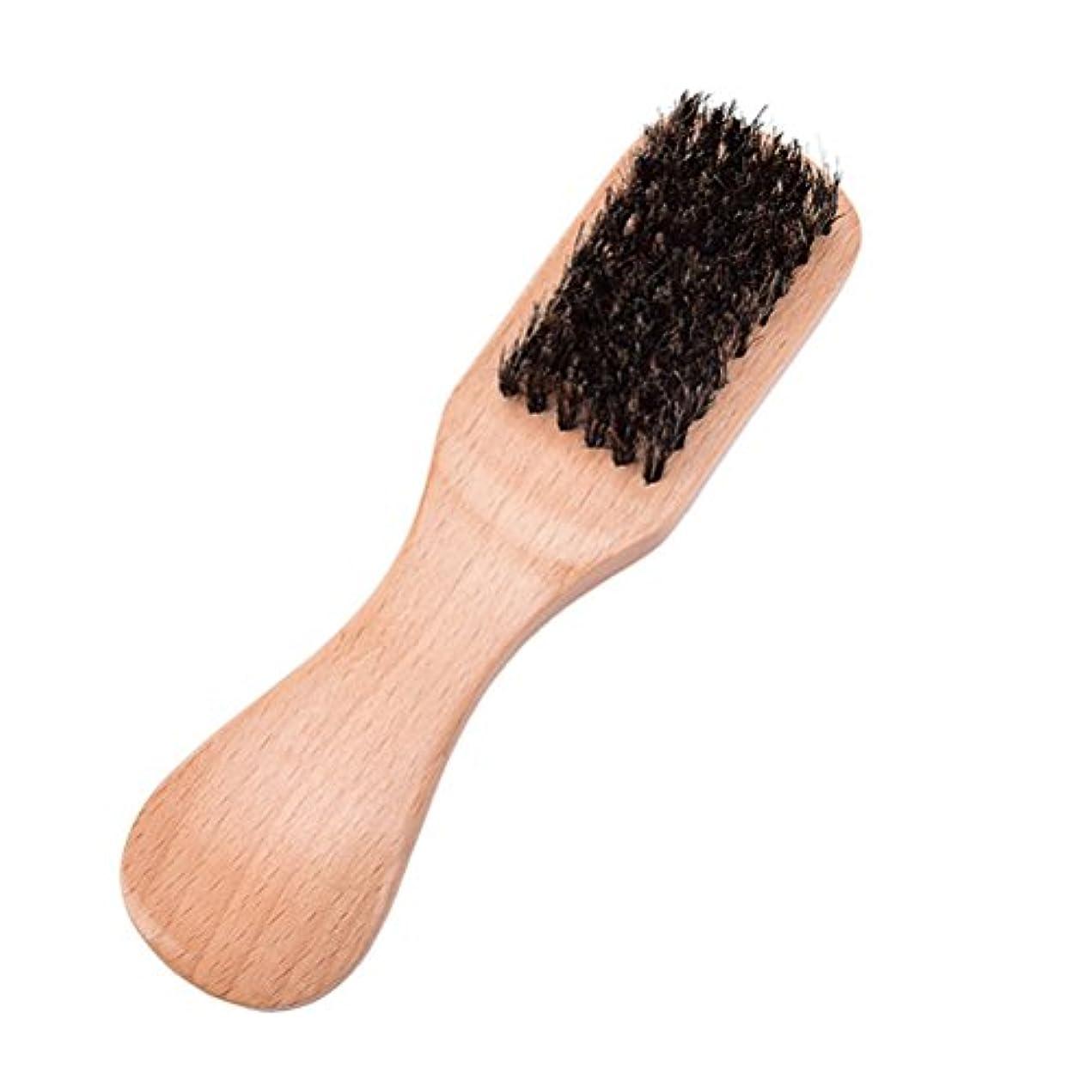 かるあたり意義VORCOOL ひげそりのブラシの猪毛皮の口ひげのブラシ柔らかい自然な毛の毛のブラシの木製のハンドル