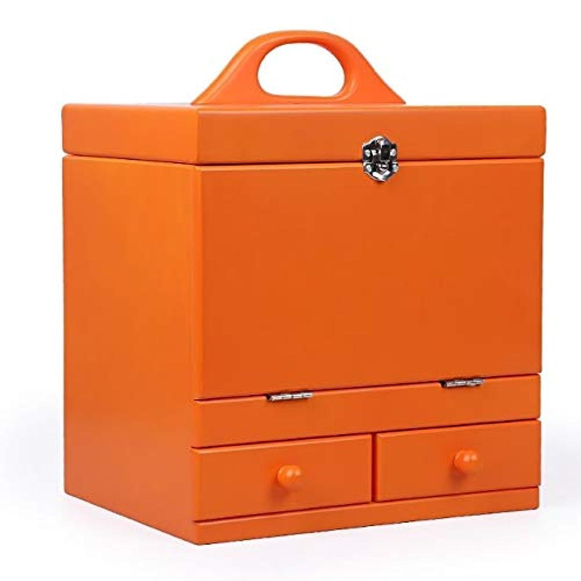 息苦しい山岳ぐったり化粧箱、オレンジ二重デッキヴィンテージ木製彫刻化粧品ケース、ミラー、高級ウェディングギフト、新築祝いギフト、美容ネイルジュエリー収納ボックス