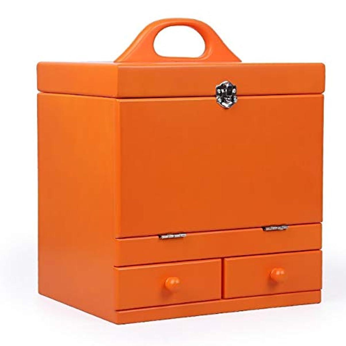 頑張るシソーラス武器化粧箱、オレンジ二重デッキヴィンテージ木製彫刻化粧品ケース、ミラー、高級ウェディングギフト、新築祝いギフト、美容ネイルジュエリー収納ボックス