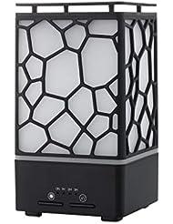 ウォーターキューブ加湿器、空気清浄機ホーム超音波ランプledナイトライトミュート寝室デスクトップヨガusb、ヨガ、家族、黒 (Color : Black)