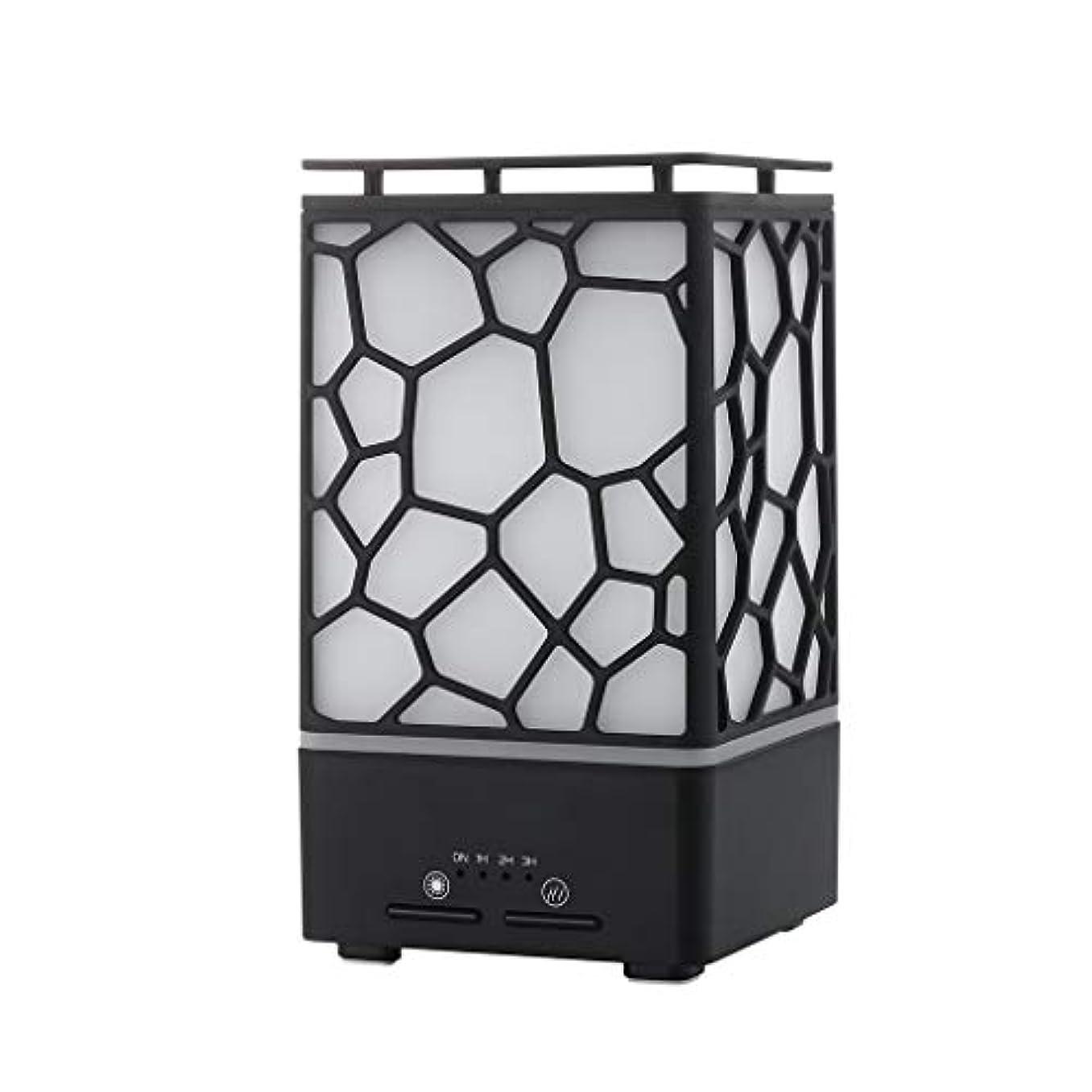 スポンジ取得するポークウォーターキューブ加湿器、空気清浄機ホーム超音波ランプledナイトライトミュート寝室デスクトップヨガusb、ヨガ、家族、黒 (Color : Black)
