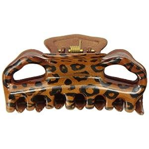 [キャラバン] Caravan ヘアアクセサリー 丸型歯 ハート オープンデザイン 手塗りヒョウ柄 バンスクリップ フランス製 774