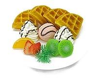 ワッフル プレート ストロベリー アイス 生クリーム フルーツ添え 食品サンプル 食品模型 ディスプレイに
