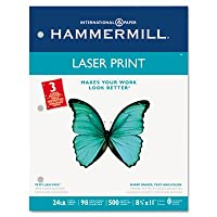 Hammermill Laser Print Paper - Letter - 22cm x 28cm - 11kg - 3 x Hole Punched - Ultra Smooth - 98 GE/112 ISO Brightness - 500 / Ream - White