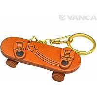 スケートボード 本革製 立体キーホルダー VANCA CRAFT 革物語 (日本製 ハンドメイド)