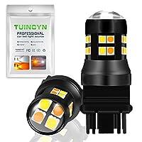 "TUINCYN 3157 3156 LED白/琥珀スイッチバックターンシグナルライトバルブ3047 3057 3155 3030-24SMDチップリバーステールパーキングブレーキライト""amber-off-amber-off"" 6500K 1200Lumens(2-Pack)"