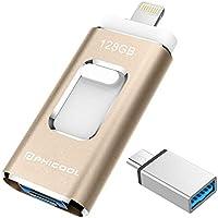 PHICOOL フラッシュドライブ USBメモリー(128GB) iPhone Android PC 3in1 専用アプリ(OTG) Type-C変換アダプター付属 アルミ合金製…