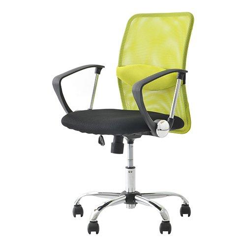 オフィスコム オフィスチェア パソコンチェア メッシュ ローバック 腰当て付き ひじ付き グリーン 腰楽