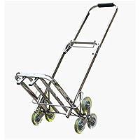 トロリークライミング階段荷物用トロリーカー折りたたみショッピングカートステンレストレーラートレーリング重量75kg (色 : A)