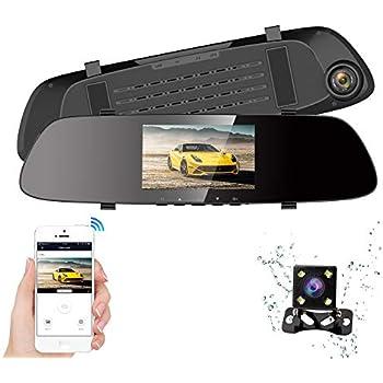 1618f0e898 ドライブレコーダー 前後カメラ HQBKiNG WIFI搭載 バックミラー SONYセンサー搭載 携帯/アプリ対応 前後録画 ミラー型ドラレコ  4.3インチスクリーン 車載防犯カメラ G- ...