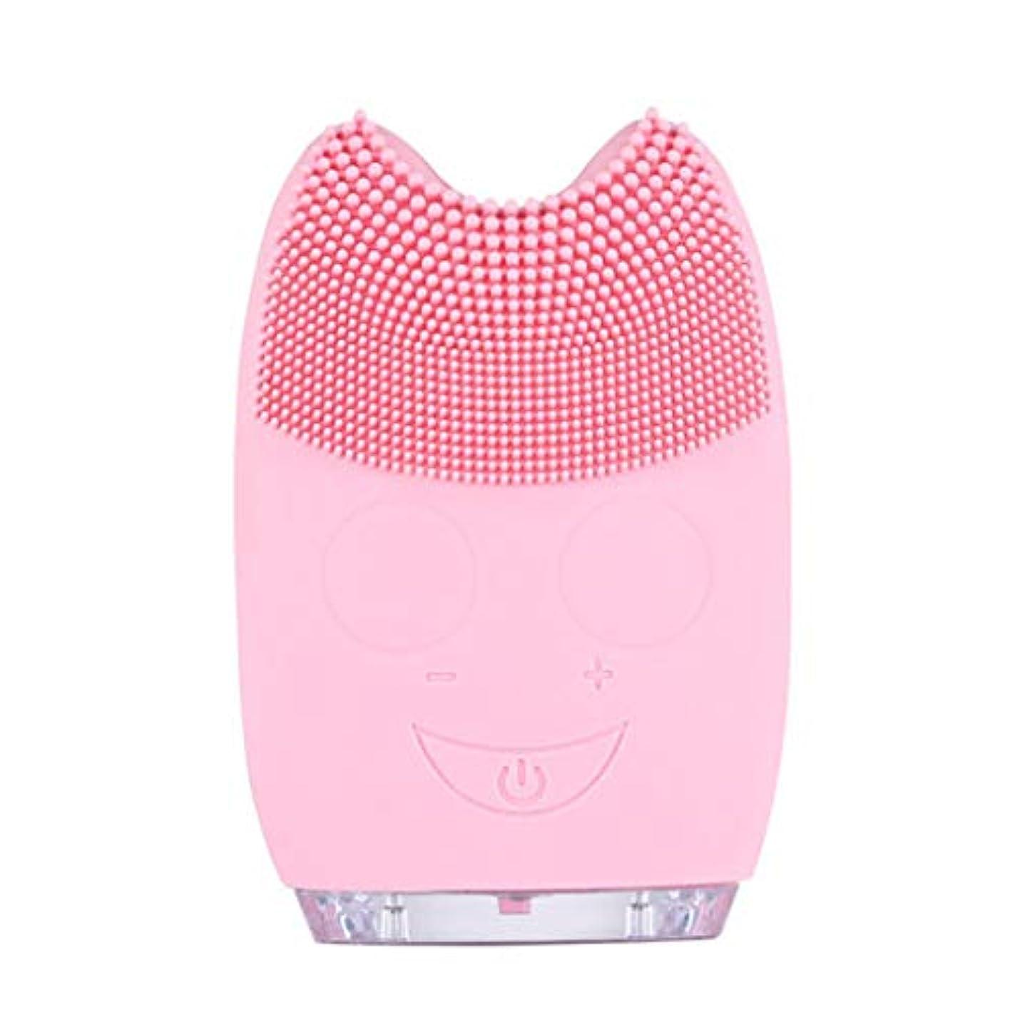 アストロラーベ九月定期的なQi フェイシャルクレンザーブラシ、防水ミニ電動マッサージマシンシリコンフェイシャルクレンジングデバイスツール GQ (色 : Pink)