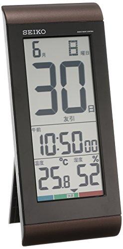 セイコー クロック 掛け時計 置き時計 兼用 日めくりカレンダー 電波 デジタル 温度 湿度 表示 茶 メタリッ...