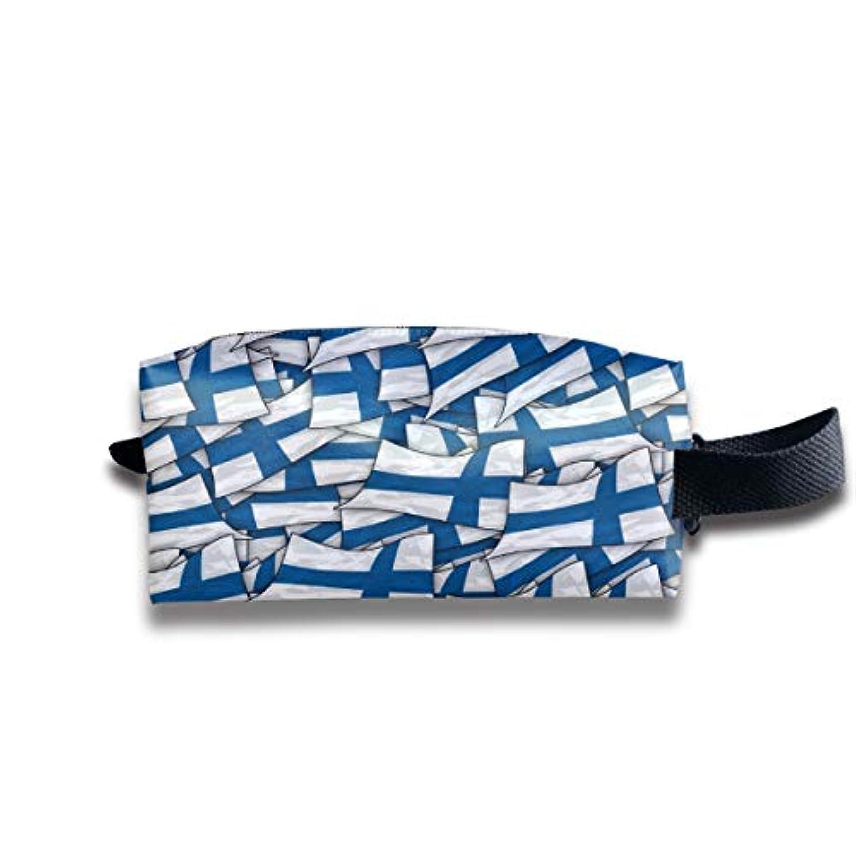 フィンランド国旗波コラージュ 化粧ポーチ メイクポーチ ミニ 財布 機能的 大容量 アイシャドー 化粧品収納 小物入れ 普段使い 出張 旅行 メイク ブラシ バッグ ポータブル 化粧バッグ