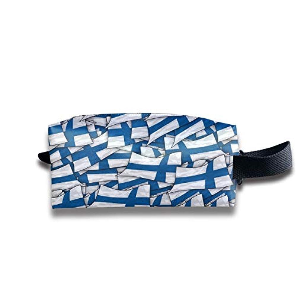 フィクションスリップ傭兵フィンランド国旗波コラージュ 化粧ポーチ メイクポーチ ミニ 財布 機能的 大容量 アイシャドー 化粧品収納 小物入れ 普段使い 出張 旅行 メイク ブラシ バッグ ポータブル 化粧バッグ