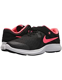 [NIKE(ナイキ)] キッズスニーカー?スケートシューズ?靴 Revolution 4 FlyEase Wide (Big Kid) Black/Racer Pink/White 6 Big Kid (24-24.5cm) W