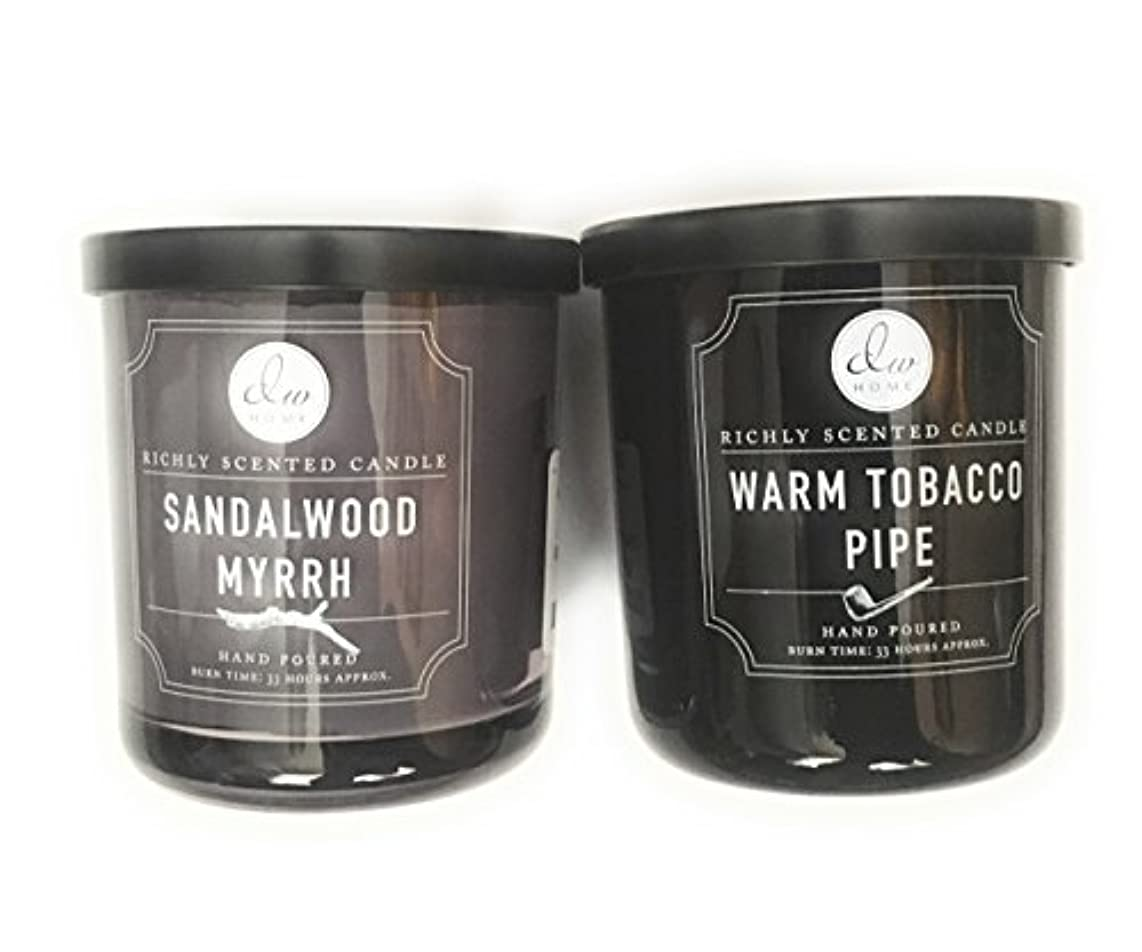 食用威信バーDW Home Candle Bundle with a Warm Tobacco Pipe (290ml) Candle and a Sandalwood and Myrrh (290ml) Candle (2 items)