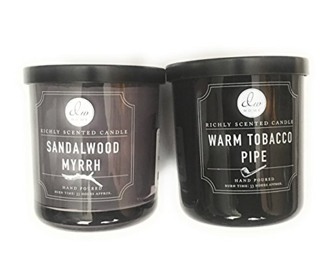風気楽な王子DW Home Candle Bundle with a Warm Tobacco Pipe (290ml) Candle and a Sandalwood and Myrrh (290ml) Candle (2 items)