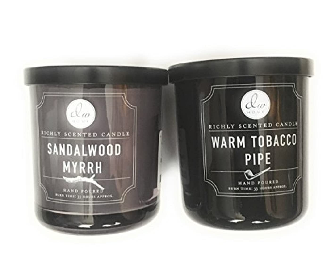 現代の思慮のない残酷なDW Home Candle Bundle with a Warm Tobacco Pipe (290ml) Candle and a Sandalwood and Myrrh (290ml) Candle (2 items)