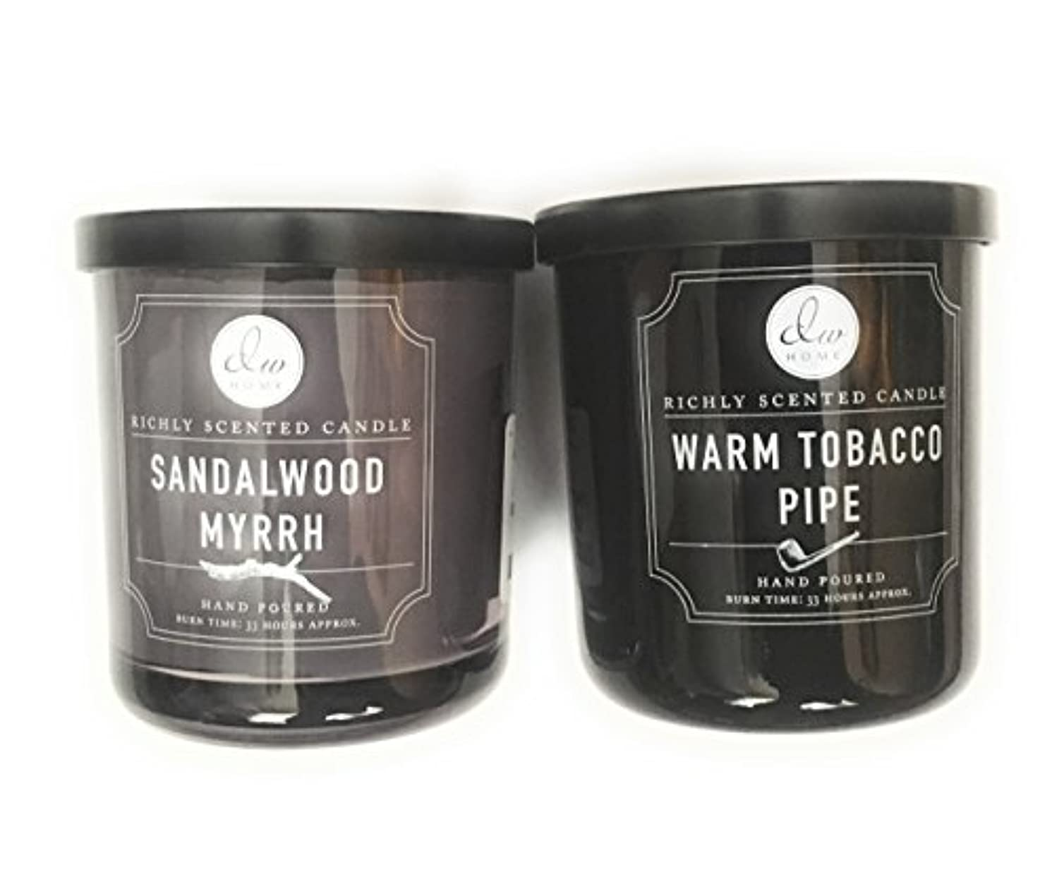 DW Home Candle Bundle with a Warm Tobacco Pipe (290ml) Candle and a Sandalwood and Myrrh (290ml) Candle (2 items)