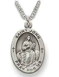 スターリングシルバー楕円形Saint John the Evangelistメダル、7 / 8インチ
