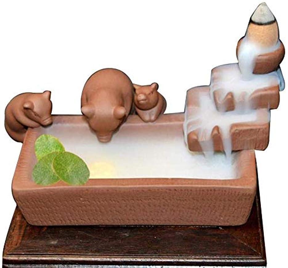 組ケージ動機逆流香ホルダーセラミック香コーンバーナー香スティックホルダー-3かわいい豚