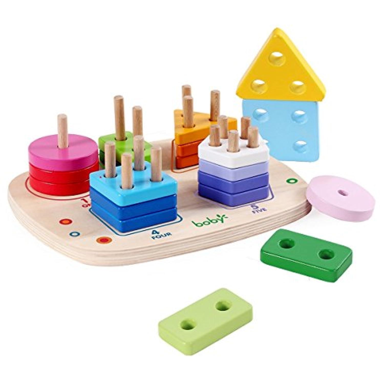 HuaQingPiJu-JP 木の形の色の認識幾何学的なボードの教育のおもちゃ