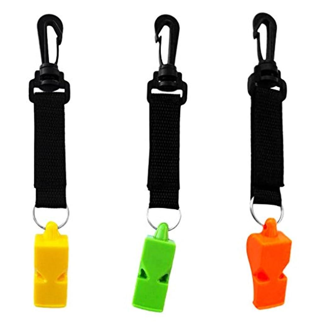 と組む一般的な方法Perfk 3個 超大声 フック&ループ付き ホイッスル 呼子 スキューバ ダイビング サバイバルギア
