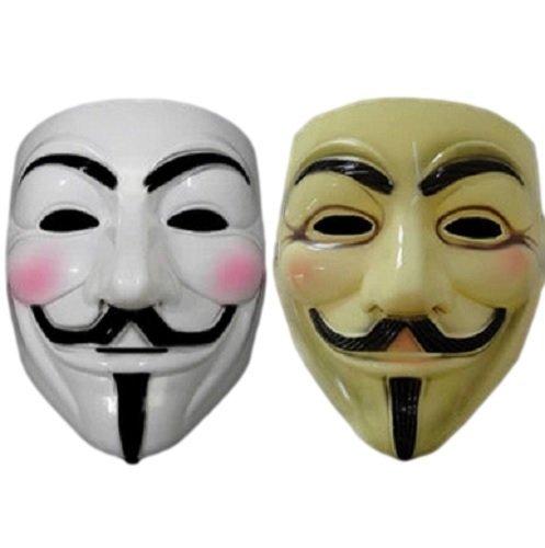 アノニマス ガイ・フォークス ホワイト&イエロー2個セット マスク コスチューム用小物