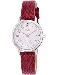 [アンジェーヌ]ingenu 腕時計 ingenu ジャスミン模様 白文字盤 赤バンド AHJK443 レディース