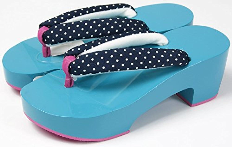 女性浴衣用 カラー下駄 24cm?25cm2サイズ 左右非対称台座に柄鼻緒 底ゴムで、歩きやすい特殊鼻緒 ヒール型ゲタ 和装小物