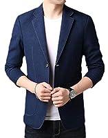 Keaac メンズスリムフィットノッチラペル2ボタンブレザービジネスジャケットスーツ Blue S