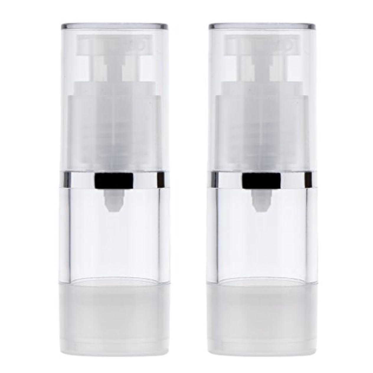 エアコン分析的な必需品Blesiya 2個 ポンプボトル ディスペンサー 詰め替え可 化粧品 クリーム ローション ポンプチューブ エアレスボトル 収納用 容器 3サイズ選べる - 15ml
