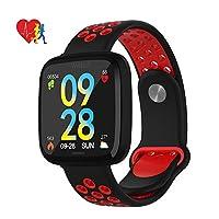 フィットネストラッカー、アクティビティトラッカーハートレートモニターウォッチIP67 Smartwatchステップカウンター歩数計、iOSおよびAndroid用,Red
