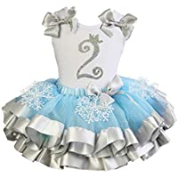 Kirei Sui Little Girls' Silver Snowflake Satin Tutu Princess 1St Birthday Outfit