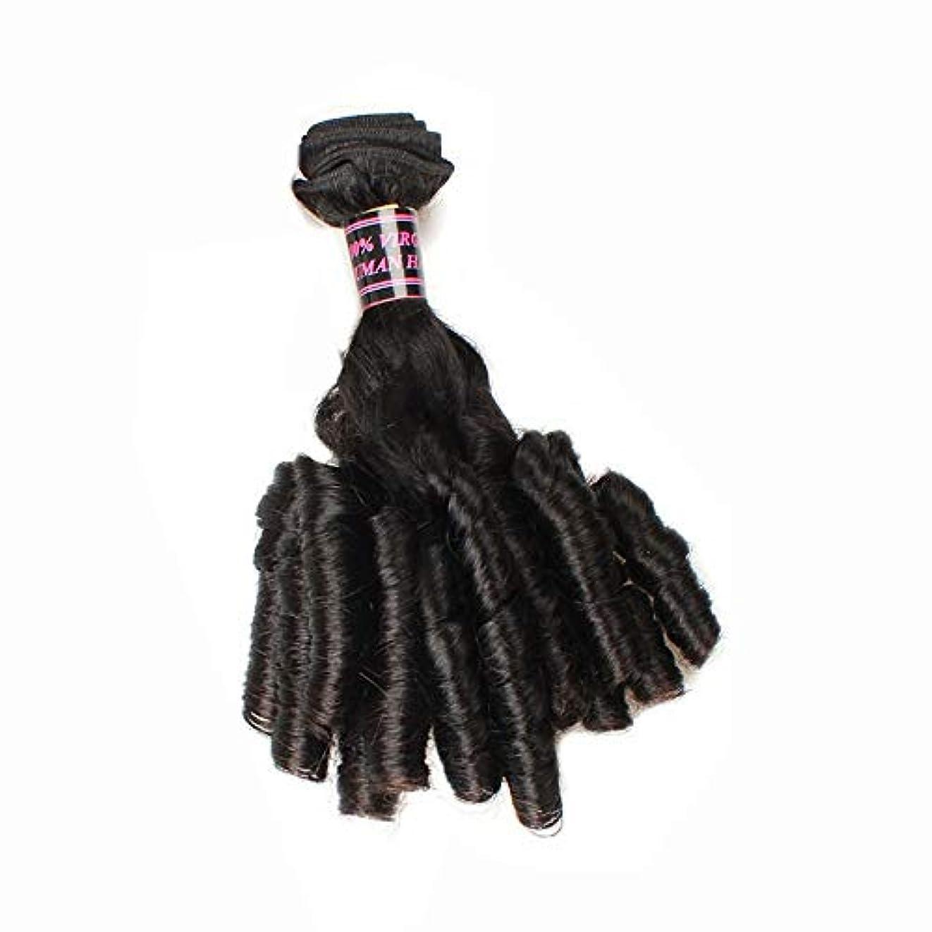 砲撃十億先HOHYLLYA ブラジルのFunmi人間の髪の毛ショートカーリー織り緩い波スパイラルカール髪の束ロールプレイングかつら女性のかつら (色 : 黒, サイズ : 16 inch)