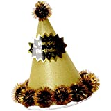 PETSOLA 誕生日ハット 紙製帽子 供/大人 仮装 調整可能ヘッドバンド 多色選べ - ゴールド
