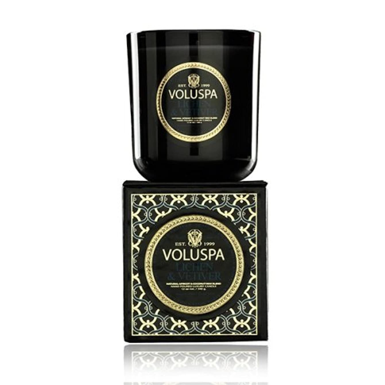 こねる成果伝染病Voluspa ボルスパ メゾンノワール ボックス入りグラスキャンドル ライケン&ベチバー MAISON NOIR Box Glass Candle LICHEN & VETIVER
