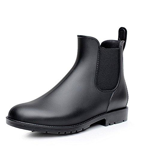 レディース&メンズ レインブーツ オシャレ 雨靴 シンプル 無地 サイドゴア 快適 防水 耐滑 ショートブーツ レインシューズ 大きいサイズ 梅雨対策 ブラック