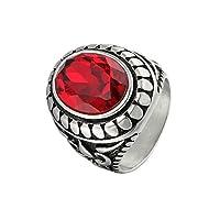 Ianlex ステンレスリング 婚約指輪 レッド パターン メンズ リング 指輪 サイズ:26