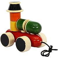 クリスマスギフトChannapatna木製玩具:エンジン – 木製Stacker & Pull Toy  handmade 