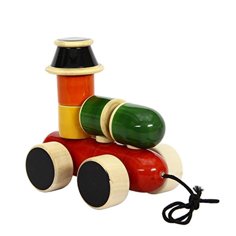 クリスマスギフトChannapatna木製玩具:エンジン – 木製Stacker & Pull Toy |handmade|