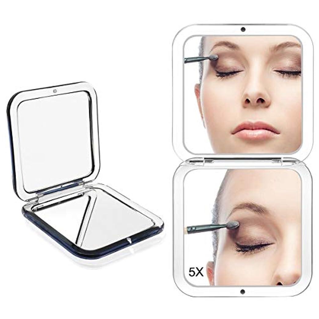 信念多年生つかまえるコンパクトミラー 化粧鏡 ミラー 5倍拡大鏡+等倍鏡 ハンドミラー 手鏡