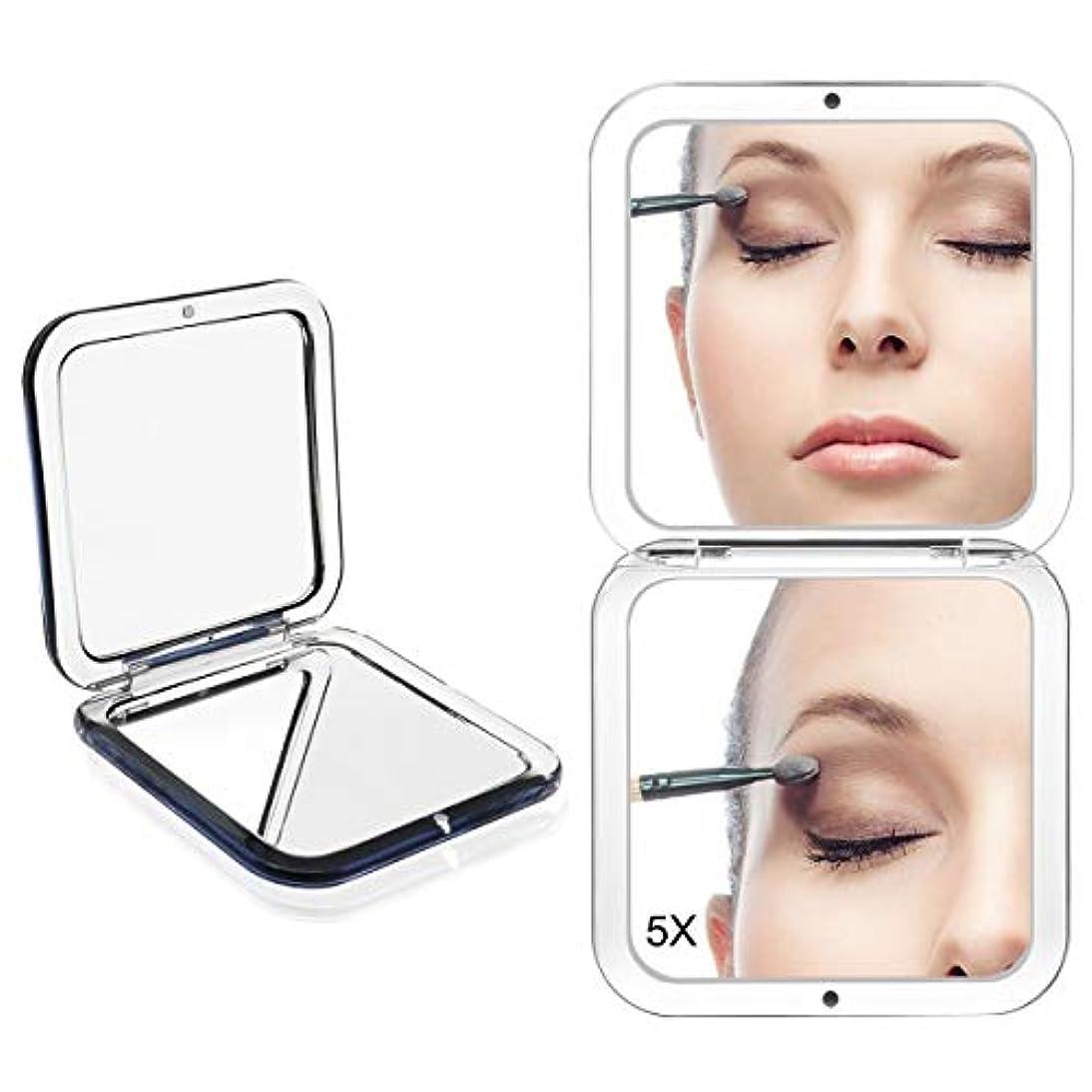 フェンス処方感謝するコンパクトミラー 化粧鏡 ミラー 5倍拡大鏡+等倍鏡 ハンドミラー 手鏡