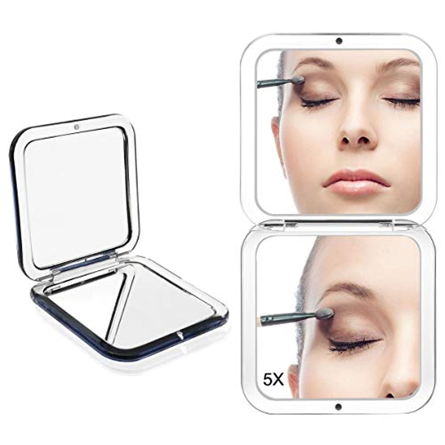 可愛い回答駐地コンパクトミラー 化粧鏡 ミラー 5倍拡大鏡+等倍鏡 ハンドミラー 手鏡