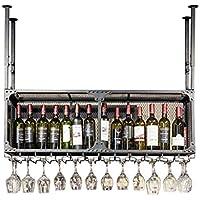 Mesurn ダブル錬鉄製ハンギングワインラック 装飾バーカウンターラック アップサイドダウンワイングラス ゴブレットホルダー ワインラック 150cm WR2354