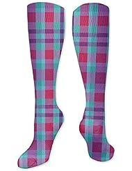 靴下,ストッキング,野生のジョーカー,実際,秋の本質,冬必須,サマーウェア&RBXAA Winter Plaid, Blue, Magenta, Purple Socks Women's Winter Cotton Long...