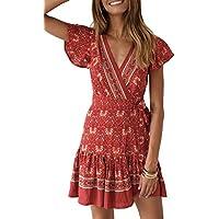 Women's Summer Wrap V Neck Bohemian Floral Print Ruffle Swing A Line Beach Mini Dress