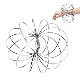 Velioy Flow Ring Kinetic 3D Spring Toy with Multi-Sensory, Interactive, 3D-Shaped For Kids Boys And Girl, Rave Accessories, Festival Accessories (Silver)