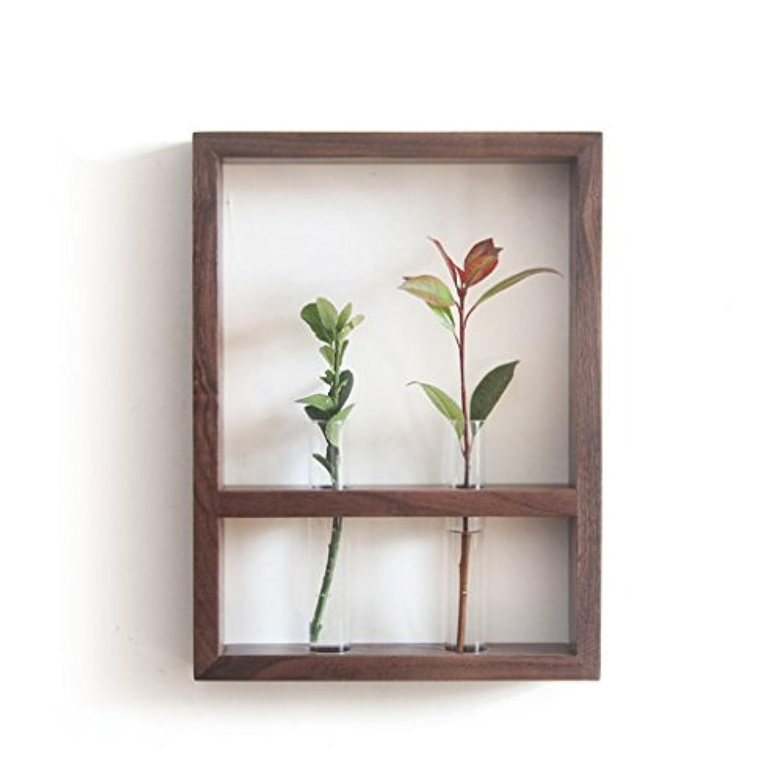 北欧スタイルソリッドウッドフラワースタンド屋内プラントフレームクリエイティブ家具壁装飾ガラス試験管 (サイズ さいず : Black walnut)