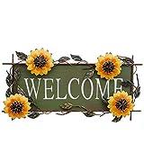 Rainbow Handcrafts Large Metal Sunflower Butterfly Welcome Sign Front Door Decor Hanging Vintage Iron Sunflower Outdoor Wreat